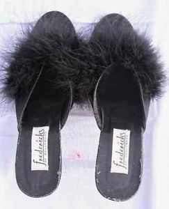 Sexy Black Fredericks Of Hollywood Marabou Feather Bedroom Slippers S6 W Box Ebay Bedroom Slippers Pinterest Bedroom Slippers And Black