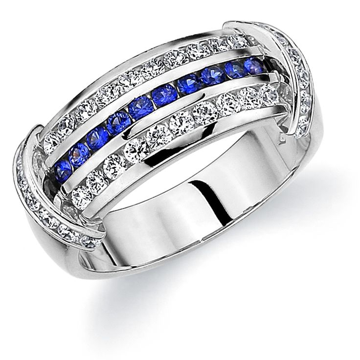 Delivering A Stylish And Contemporary Design This Magnificent Wedding Band Features Dazzling Diamonds Vibrant Blue Shires