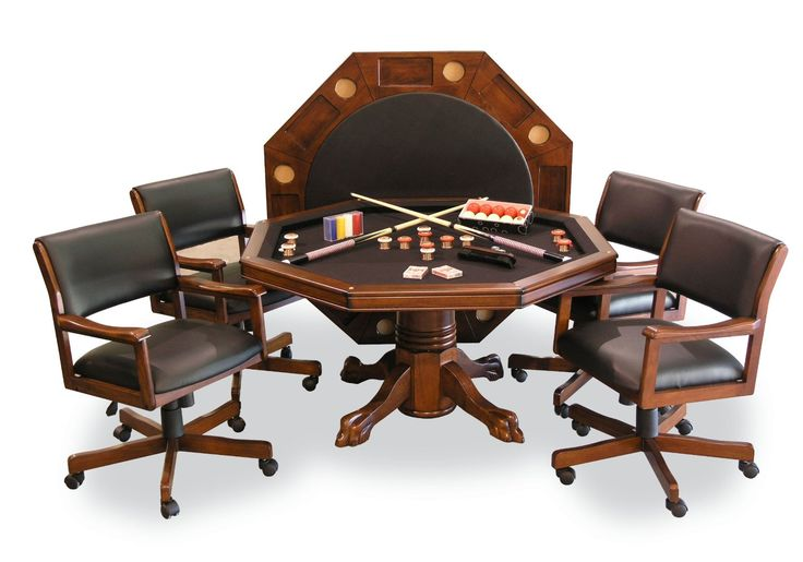 Signature Combination Game Table Set W 4 Chairs Chestnut Bumper Pool P