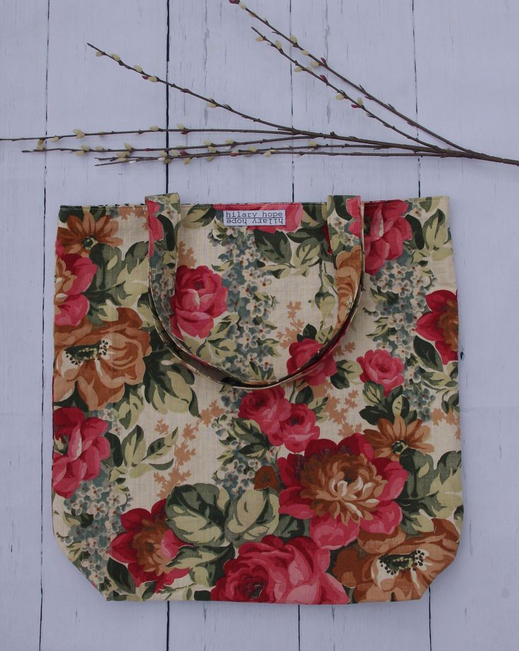 fresh fall floral tote bags handcrafted from repurposed materials and reversible...slow fashion at its finest