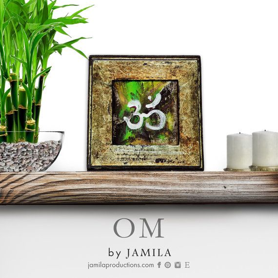 OM mantra symbol  original mixed media by jamilaproductions