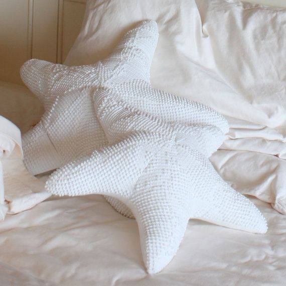 Starfish Pillow Medium Recycled Chenille by ParkerBrownTextiles