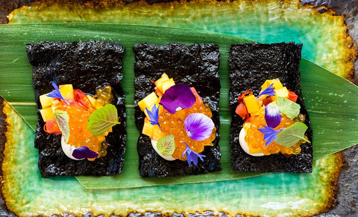 Golden Trout Roe with Pickled Peaches, Sour Tofu, and Nori Crisps by Portland chef Gregory Gourdet