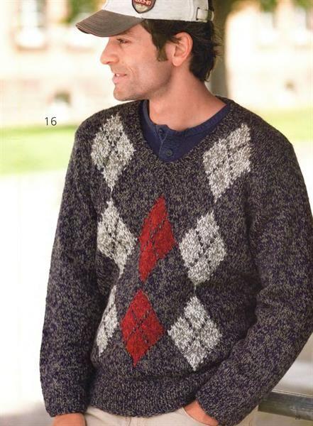 Мужской свитер с ромбиками крючком