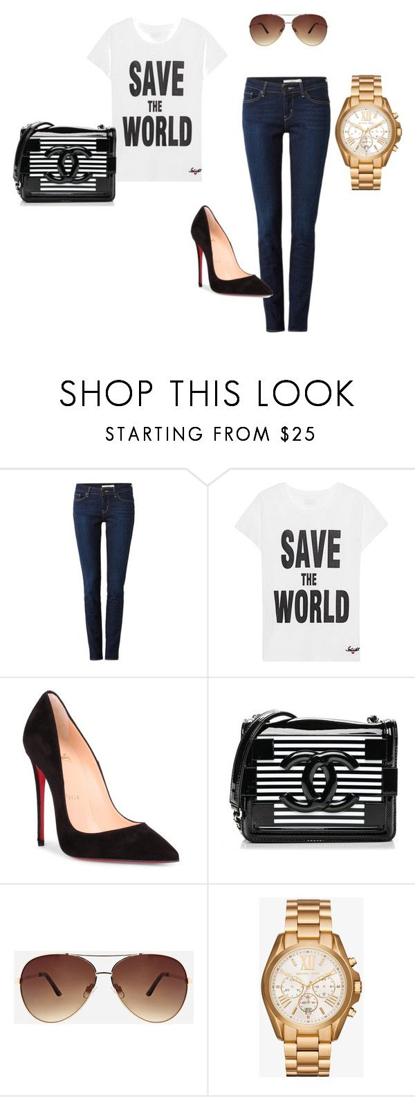 """Untitled #24"" by ivananna on Polyvore featuring Levi's, Jadicted, Christian Louboutin, Chanel, Ashley Stewart and Michael Kors"