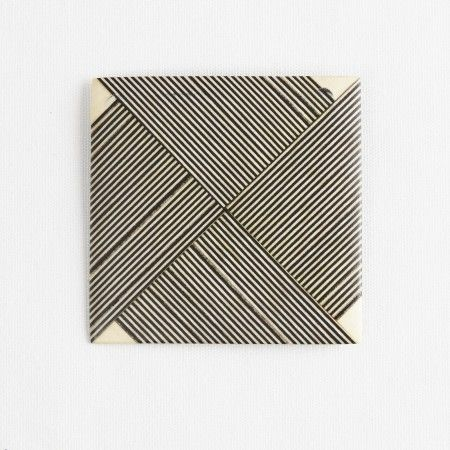 Darkroom Georges Larondelle Square Brooch with Fine Stripes and Holly Corners