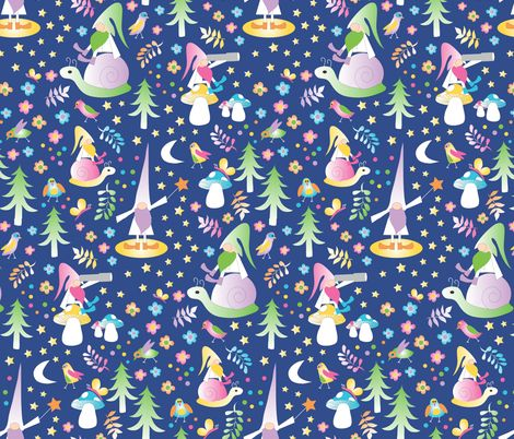 Gnomes In Nature fabric by colour_angel on Spoonflower - custom fabric #gnomes #stars #snails #mushrooms #wand #magic #childrens #kids #fabric #wallpaper #giftwrap #forest #garden #greenery #colour_angel