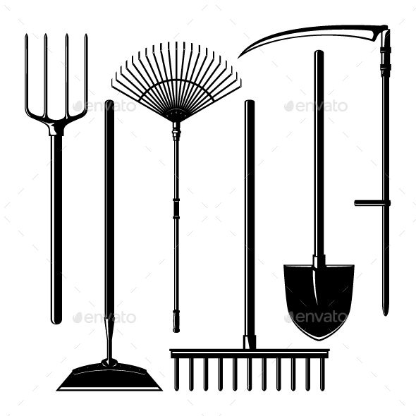 Agricultural Tools Isolated on White Background