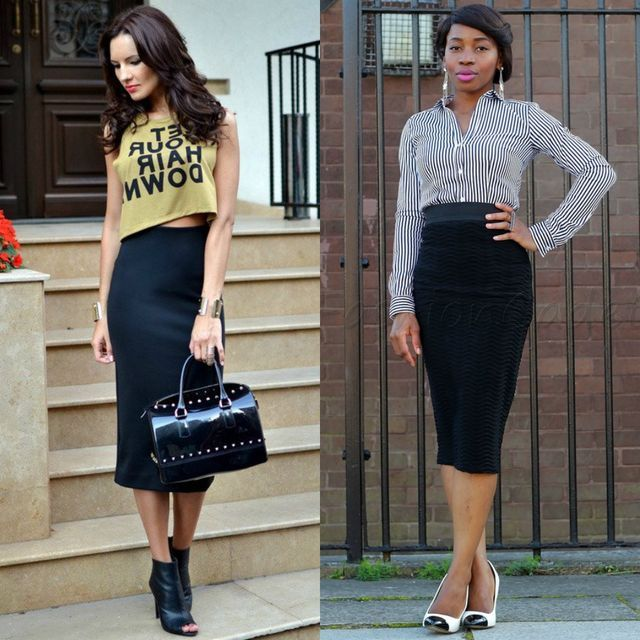 Black pencil skirt outfits | Long black pencil skirt outfit