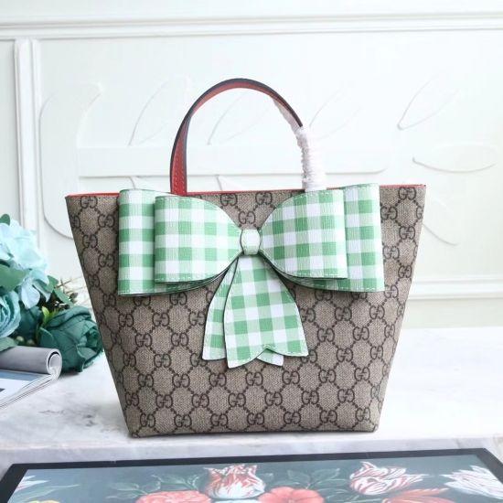57d4216143 Gucci Light Children\'s GG Supreme check bow tote 501804 Green ...