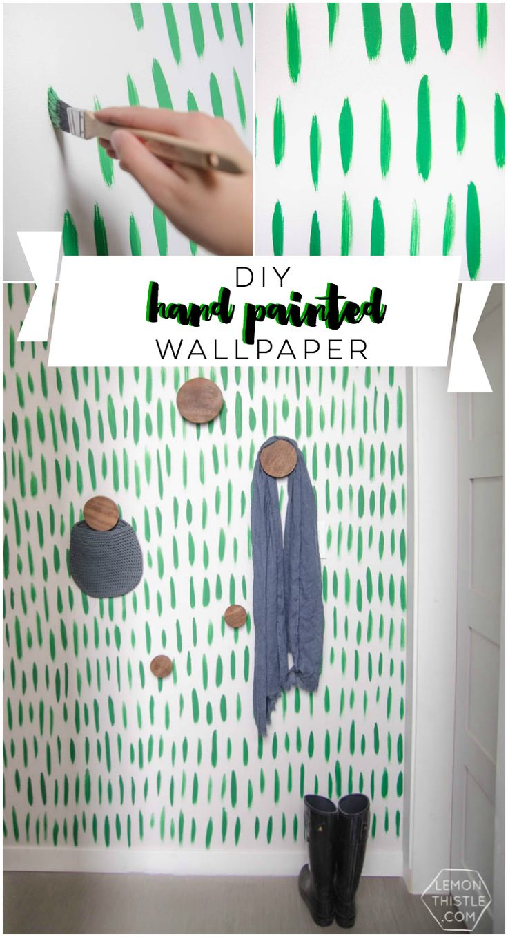 DIY Hand Painted Wallpaper- I love the green brush stroke pattern! Looks so easy too
