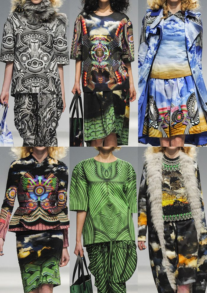 Paris Fashion Week – Autumn/Winter 2013/14 Manish Arora A/W 2013/14 Tribal Psychedelic – Fused Photographic Landscapes and Skys – New Age Tribal Prints  - Engineered Layouts – Fading and Merging Imagery