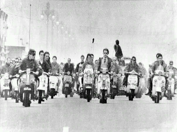 Mods on scooters at Brighton