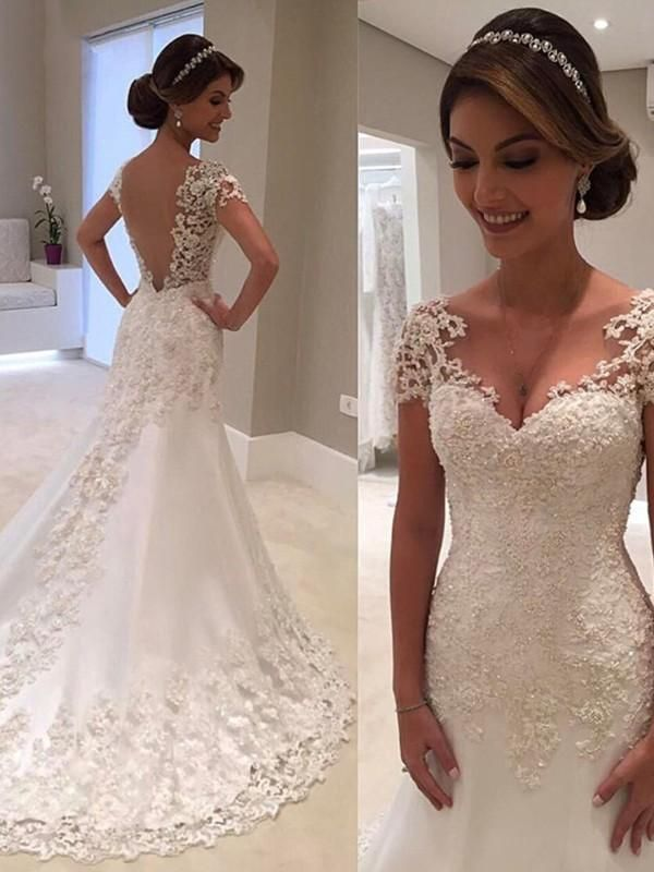 Prom Dress Tight, Trumpet/Mermaid Short Sleeves Sweetheart Sweep Train Lace Wedding Dresses YB33PO1633