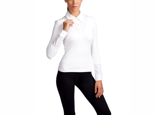 SkinnyShirt by Julie Kalimian $60. Body made of Nylon and Lycra (won't bunch under tissue weight fabrics). Collar and cuffs made of crisp Poplin. Love.