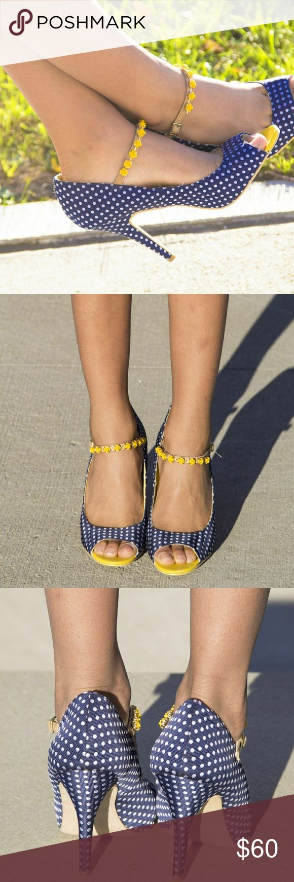 Not rated blue polka dot heels Blue Polka dot peep toe shoes. Has a yellow flowered ankle strap with gold hardware. Gives modern vintage vibes!! These beauties are 4in and have cushioned soles. Unique pair only worn in photos no box Not Rated Shoes Heels