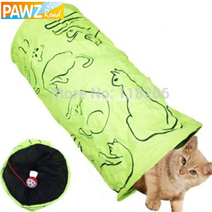 Cat  Printed Green Lovely Crinkly Kitten Tunnel Toy With Ball  Play Fun Toy  Tunnel