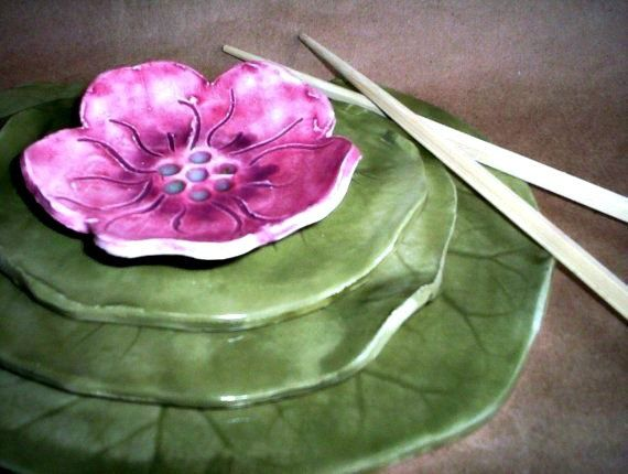 Ceramic Sushi Set Water Lily with Flower Bowl by dgordon on Etsy ~ great inspiration