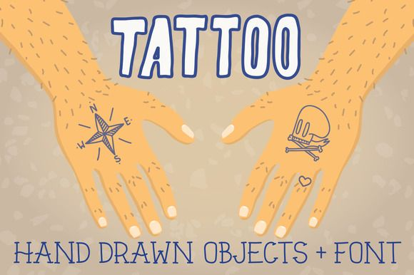 Check out Old school tattoo objects + font by #FOTUSART on Creative Market