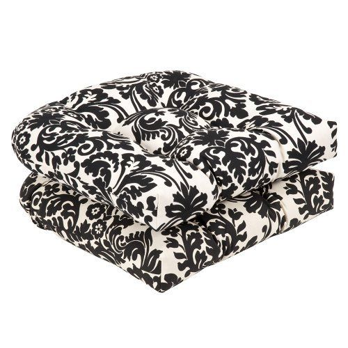 Pillow Perfect Outdoor Black/Beige Damask Wicker Seat Cushions, 19-Inch Length, 2-Pack by Pillow Perfect. $47.94. Spot clean only. 100-Percent polyester. Fade resistant, mildew resistant, uv protection, water resistant, weather resistant. 100% Polyester. 100-Percent polyester fiber. Sewn seam closure. Outdoor black/beige damask wicker seat cushions, 2-pack
