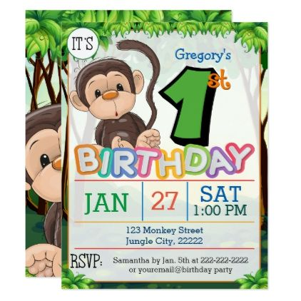 1st Birthday Party Monkey Invitation - birthday cards invitations party diy personalize customize celebration