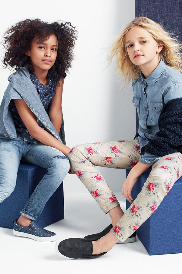 be your beautiful you in printed floral denim, layers of blue, and easy slip ons. shop GapKids: http://gap.us/SpringGi