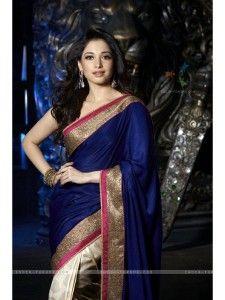 Buy Amazing Blue & Off-White Crepe Designer Saree Online