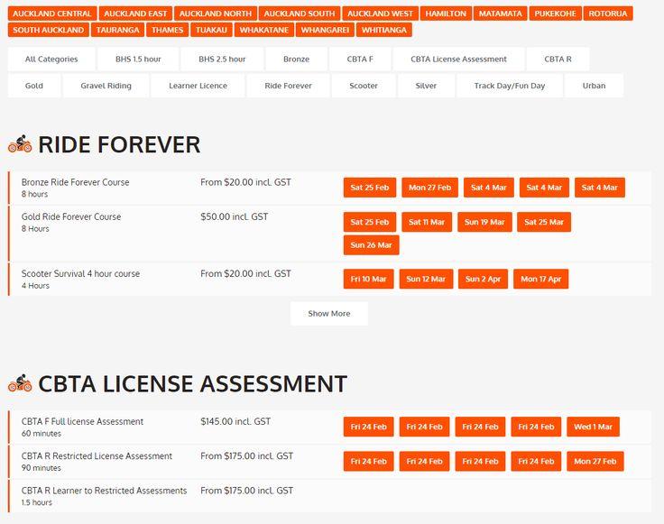 Course Schedule - http://www.prorider.co.nz/