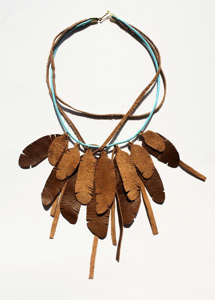 Naszyjnik Piórka     Feather Necklace #leather #feather #handmade #design #etno