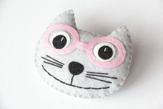 Felt Brooch Cat in glasses Felt Jewelry Felt Pin Cat by ecotule