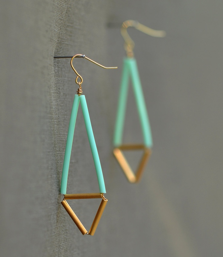 Mint Geometric Earrings - Pastel and Gold, Neon, Bright, Spring Dangle earrings. $24.00, via Etsy.