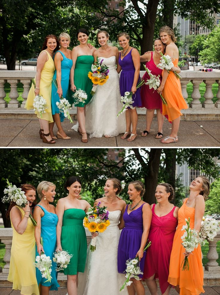 rainbow of bridesmaid dresses // wedding at the Olbrich Botanical Gardens