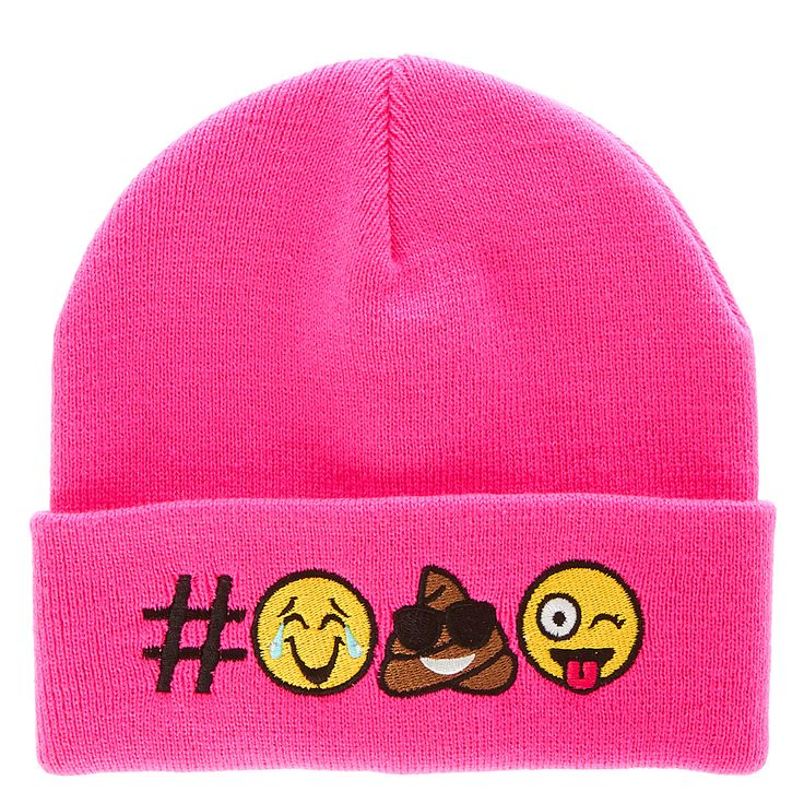 <P>Stay warm in wacky style with this neon pink beanie. A crying from laughing emoji, a cool smiling pile of poo emoji, and a silly sticking out tongue emoji decorate the brim of the hat.</P><UL><LI>Woven fabric<LI>Domed top<LI>Emoji design<LI>100% Acrylic<LI>Hand wash only</LI></UL>