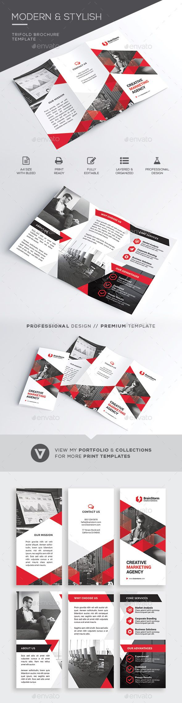 Trifold Brochure — Photoshop PSD #creative #marketing • Available here → https://graphicriver.net/item/trifold-brochure/20977463?ref=pxcr