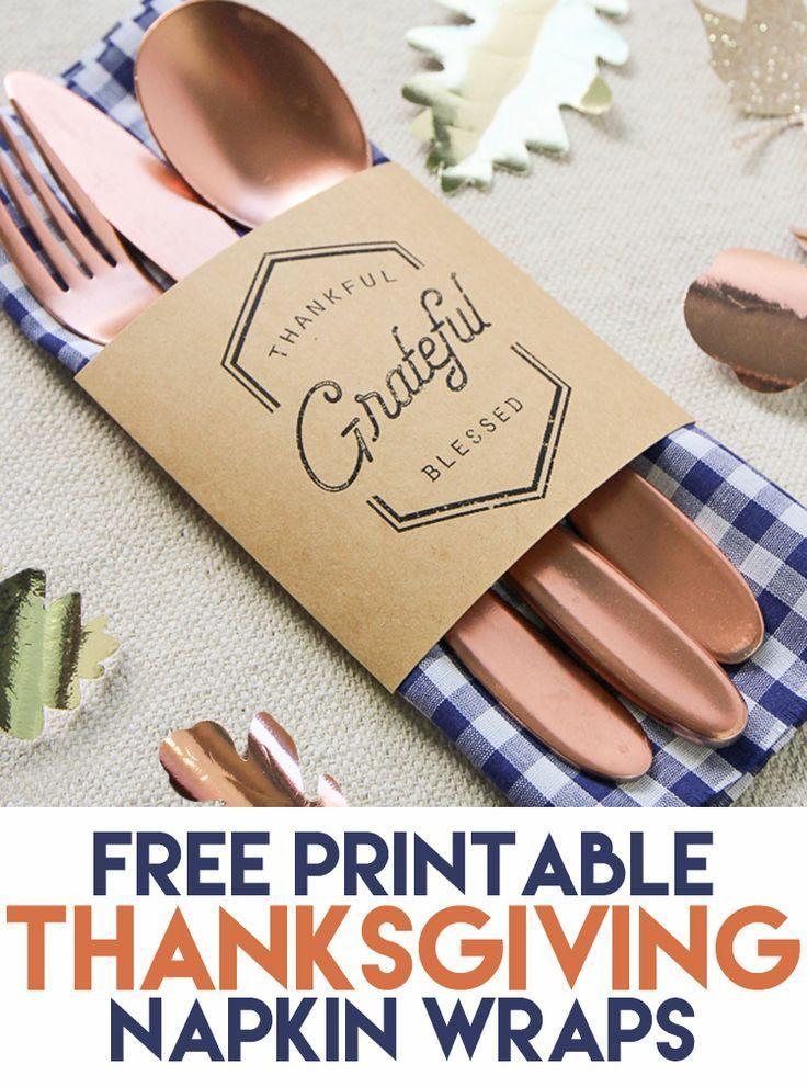 Thanksgiving Utensil Pouch and Napkin Wrap Free Printable