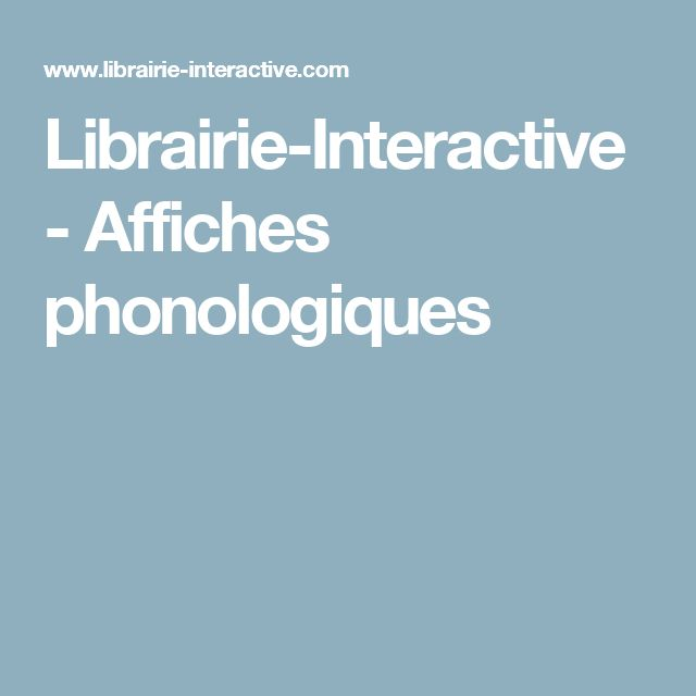 Librairie-Interactive - Affiches phonologiques
