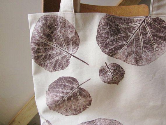 Borsa grande tela, caduta, mano stampato sacchetto di foglie