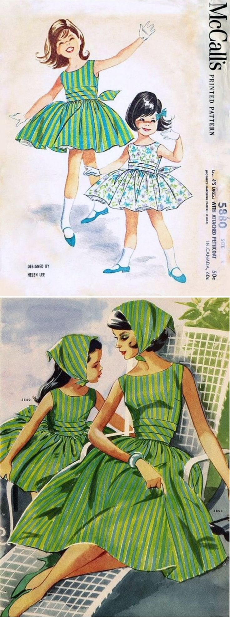 McCall's 5880 and matching mother's pattern McCall's 5853 by Helen Lee © 1961.