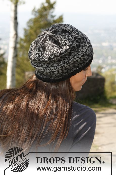 "Free pattern: Knitted DROPS hat with pattern in ""Delight"" and ""Fabel""."