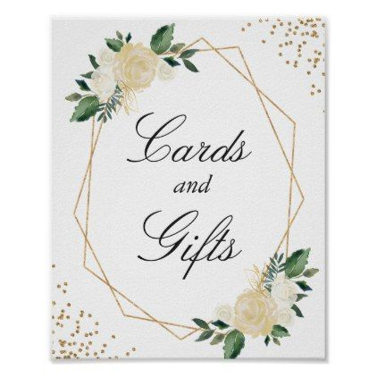 Cards and Gifts Modern Frame Gold Glitters Floral Poster - glitter gifts personalize gift ideas unique