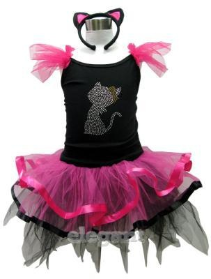 Xmas Halloween Kitty Cat Girl Costume Dance Dress Ballet Leotard Tutu Skirt 2-4Y
