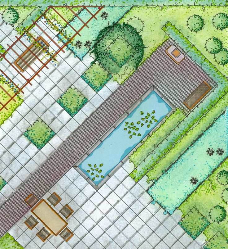 Strong use of the diagonal brings energy and interest to a small square back yard.