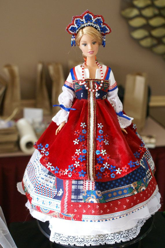 Russian Traditional Costume for a 12 Barbie Doll by KCKraftHouse