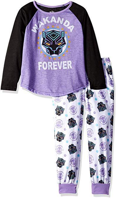 68eff2f5 Marvel Girls' Toddler Black Panther 2-Piece Pajama Set, Wakanda Forever, 2T