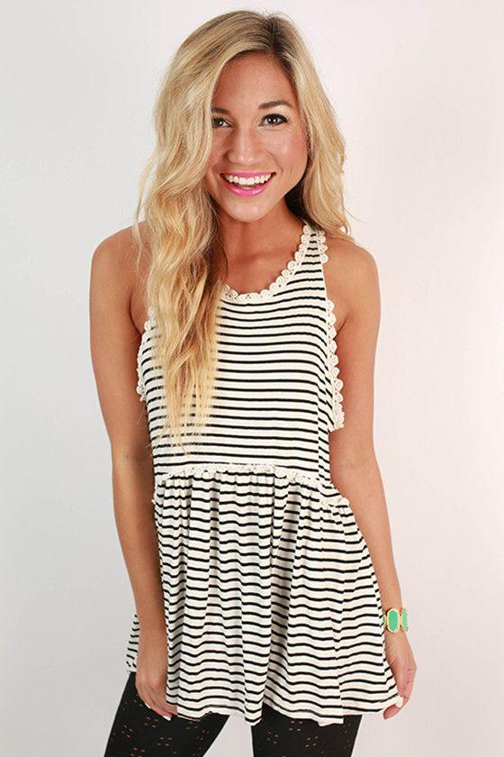 Fashion Queen Stripe Tank Top in White