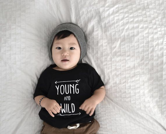 YOUNG AND WILD t-shirts; gender neutral tees; modern baby clothes; screen printed on Etsy, $25.00