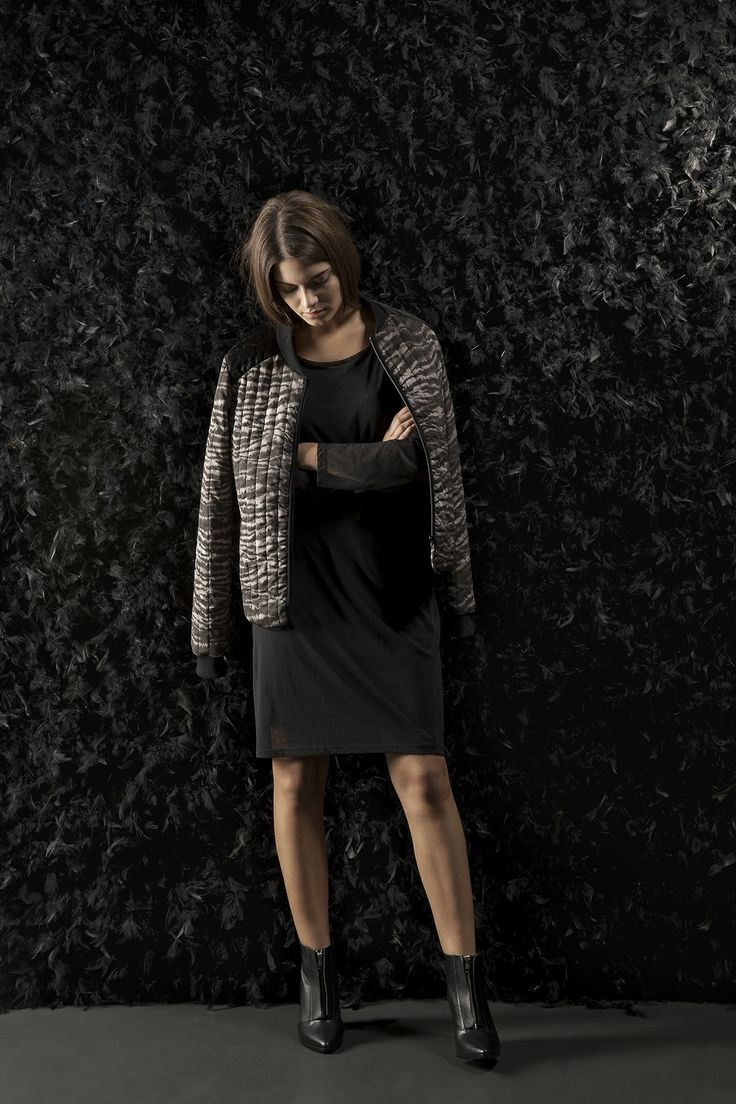 This season's party dress, Darlene Jersey Dress styled with the cool quilted Delhi jacket in zebra print.