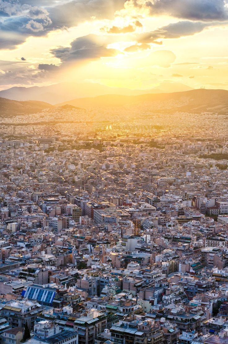 Sunset over Athens, Greece. Left my heart in Athens.