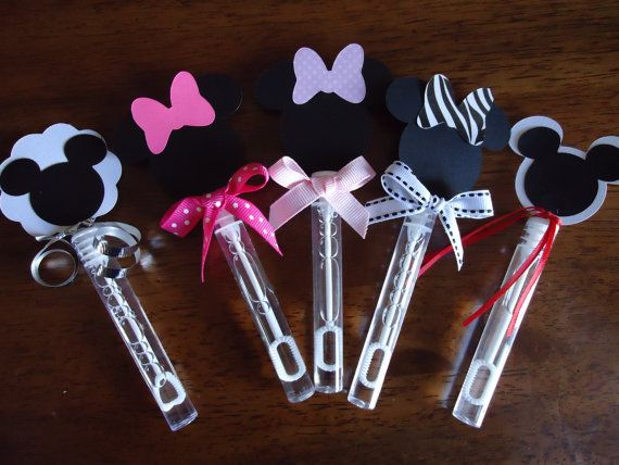 Mickey Mouse and Minnie Mouse party bubbles set of 8, Minnie mouse party favor bubbles. $8.00, via Etsy.