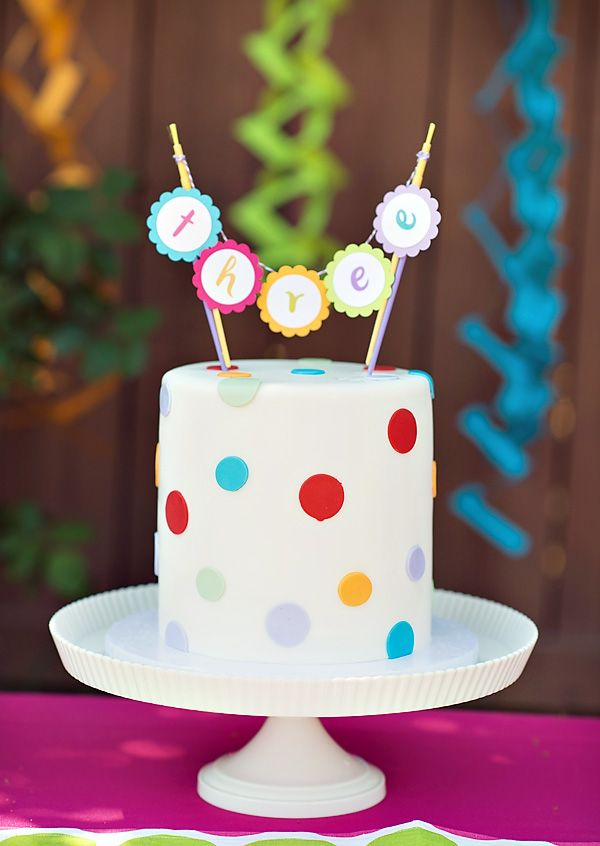 love the cake and topper--I used this as my model for my polka dot cake.  I used candy dots in the party colors to decorate the sides of the cake.